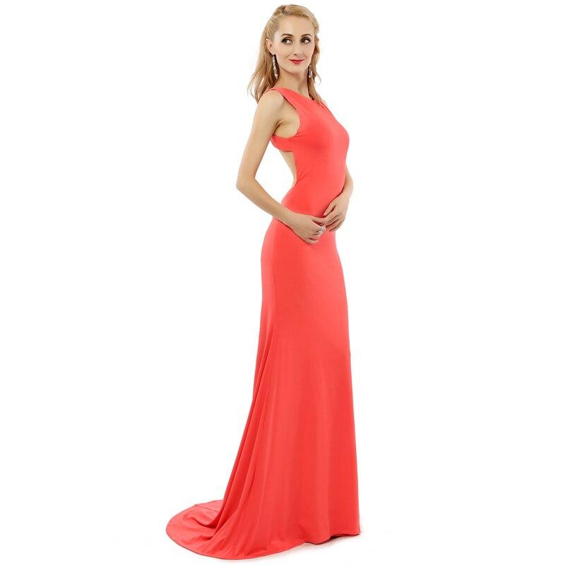 Vestidos Para Festa Sexy Scoop Peach Prom Dresses 2018 New Elegant