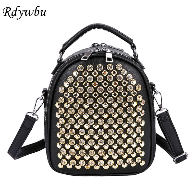 Rdywbu Multifunction Studs Small Backpack Girl Mini School Bag Women Fashion Rivet Travel Bagpack 2 Layer PU Leather Bolsas B632