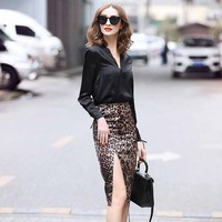 2019 spring women's new v neck shirt + leopard print skirt fashion suit free shipping S M L XL