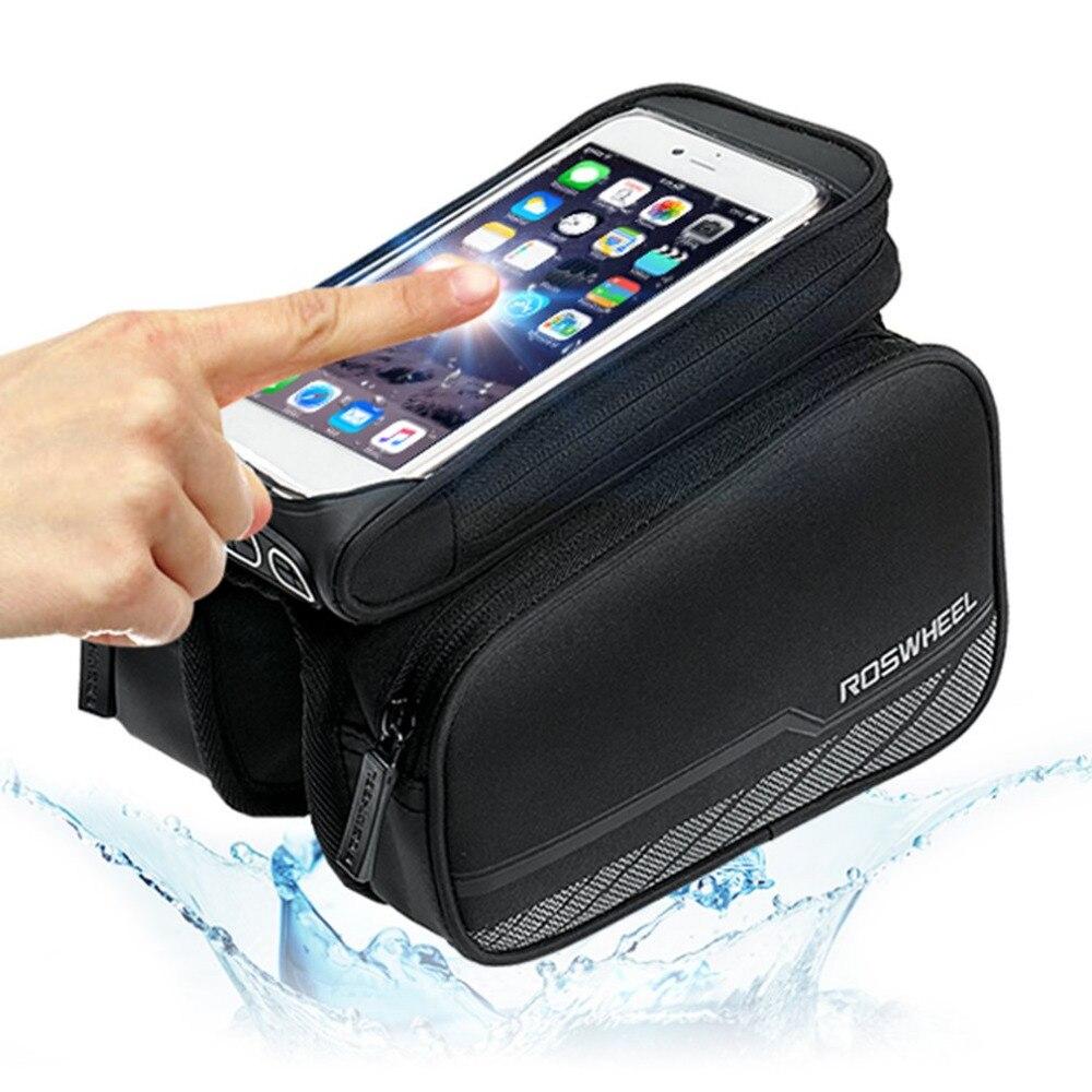Bolsa de sillín de pantalla táctil resistente al agua para ciclismo bicicleta parte superior del tubo bolsa doble bolsa para 5 y 5,7 teléfono móvil Envío Directo