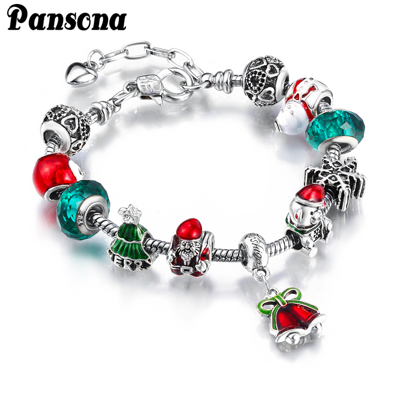 Alloy Crystal Authentic Silver Charms Beads Bracelets Fit European Bangle Christmas Gift for Womens and Girls
