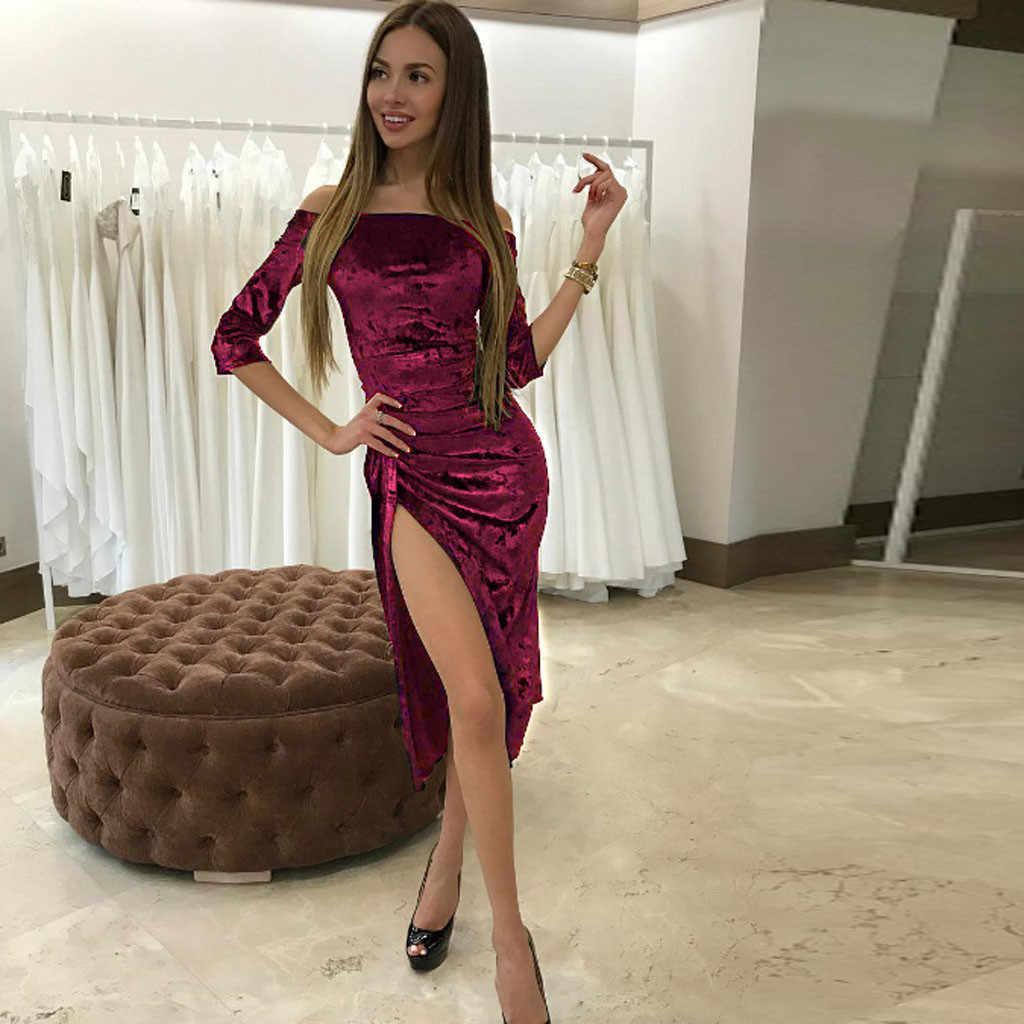 ... Sexy Off Shoulder Velvet Dress Women Slash neck High Slit Evening Party  Dress Women Solid Casual ... 5218a4b57456