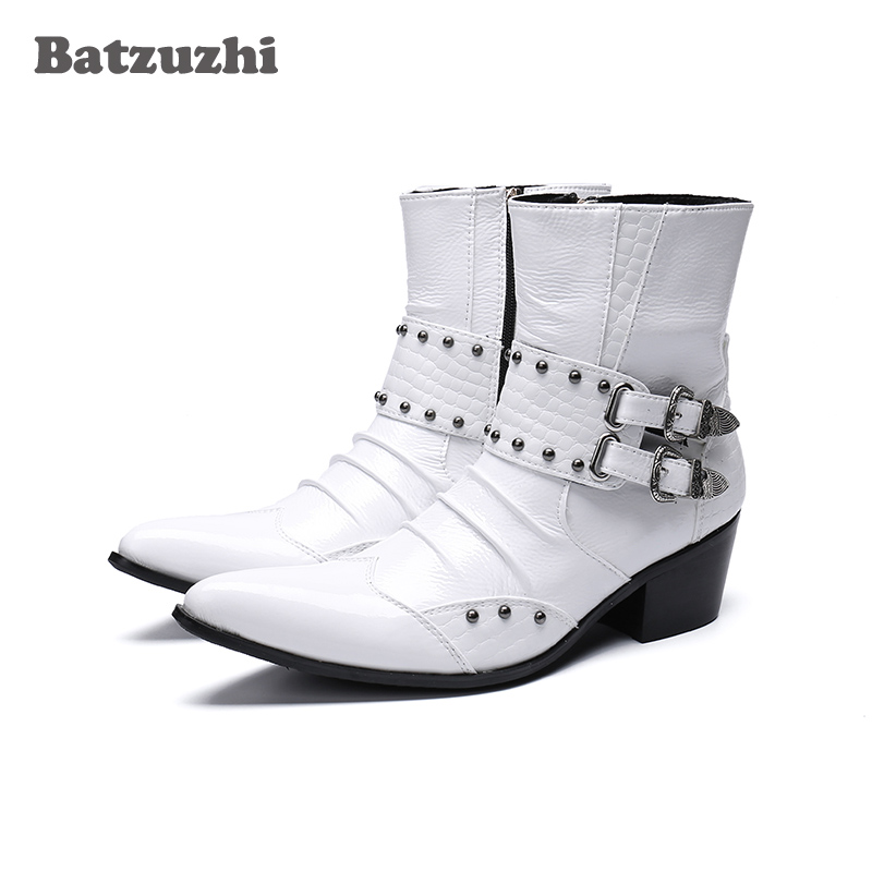 Western Cowboy Men Boots 6.5cm Heels White Genuine Leather Punk Style Iron Pointed Toe Military Motorcycle High Top Botas Hombre new genuine leather men ankle boots punk style iron pointed toe zip mens military cowboy boots high top buckles botas hombre