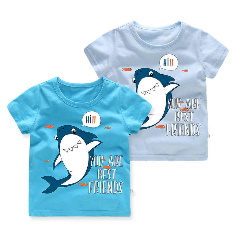 New Kids Tshirt Short Sleeve Boys T Shirt Summer Cotton Cartoon Shark Tops T-shirts Tees Children's Clothes for Big Kids