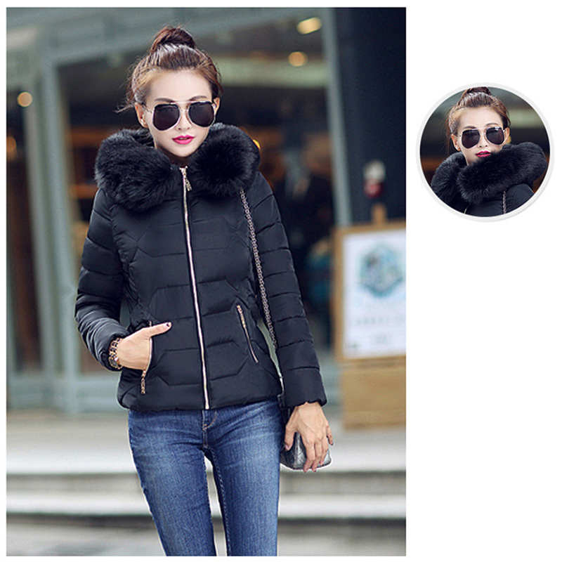 Winter Short Women Jacket Coat Cotton Warm Fur Hooded Parkas Women Outwear Zip Casual Fashion Black Warm Female Coats WT4583 3