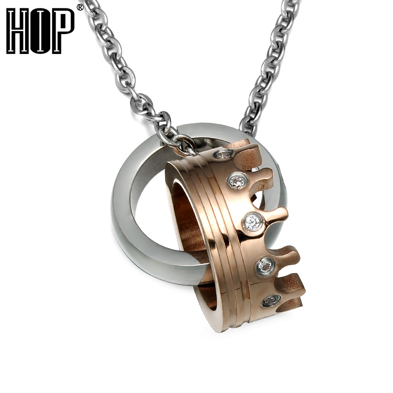 HIP Rose Gold Crown Necklace For Men Women Stainless Steel Chain choker Pendants Necklaces Lucky Jewelry