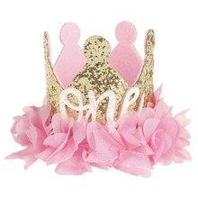 1 pçs bonito menina um dois feliz aniversário laço flor bandana coroa princesa artesanal hairband chá de fraldas decoração festa sd66