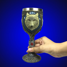 1Piece 3D Wolf Goblet Drinkware Mug Wolf Beer Mug Cool Celtic Resin Stainless Steel Gothic Dinner Party Decor
