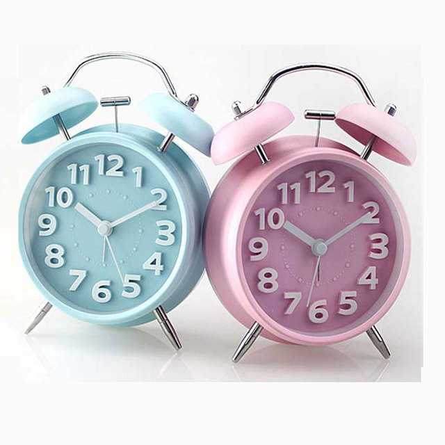 2018 Hot Sale 4 Inch Metal Alarm Clock Twin Bell Double Europe with Backlight Quartz Single Face Needle Circular