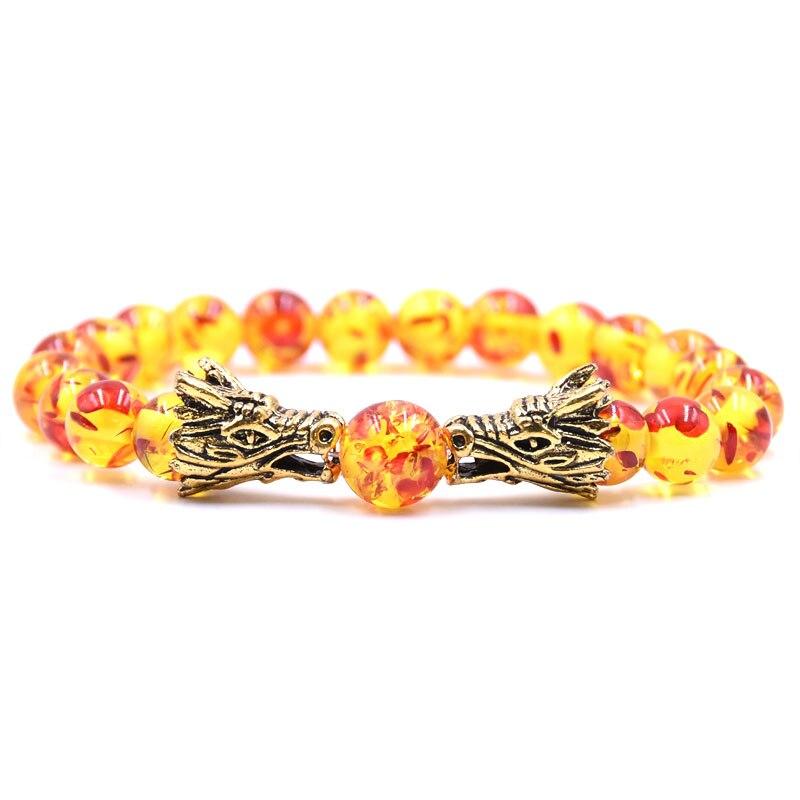 HYHONEY 8MM Natural Stone Beads Bracelet For Men bileklik Men Jewelry Dragon pulseras 14