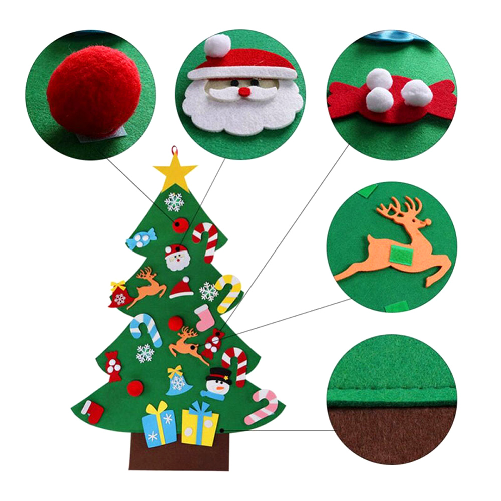 Behogar DIY Felt Christmas Tree Decoration Xmas Party Wall Hanging Ornament for Kids Gift Home Office Shop Window Decor