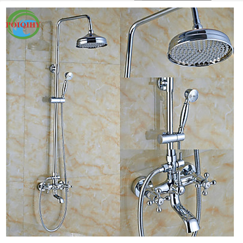 Dual Handle Bathroom Shower Mixers New Brand Brass 8 and 16 Rainfall Shower Faucet Swivel Tub Filler with Hand Shower