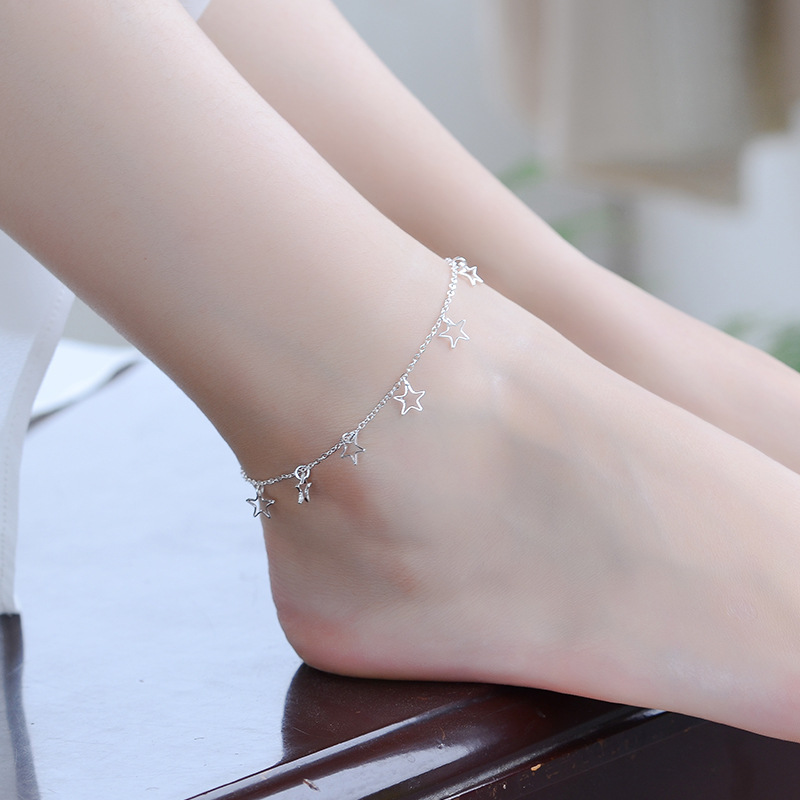 TJP Trendy Girl Silver Anklets Jewelry Hot Star O Chain Top Quality 925 Silver Bracelets For Women Princess Wedding Party Bijou
