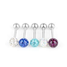 Czech Crystal Ball Barbell Bar Tongue Ring