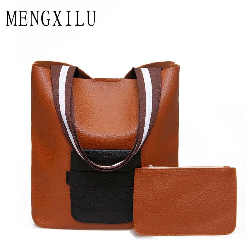 MENGXILU Fashion Bucket Shoulder Bag Women Handbags High Quality Pu Leather Bag Ladies Luxury Brand Patchwork Purse And Handbags mengxilu high quality composite bag