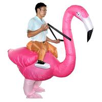 Inflatable Rosy Flamingo Rider Blowup Costume Adult Tropical Party Fancy Dress
