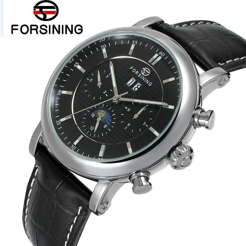 Fosining Luxury Montre Homme Watch Men's Auto Mechanical Moonpahse Genuine Leather Strap Watches Wristwatch  Free Ship fosining luxury montre homme watch men s auto mechanical moonpahse genuine leather strap watches wristwatch free ship