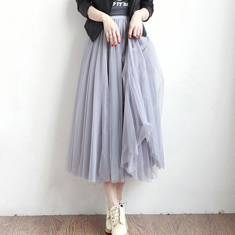 2017 Tulle Skirts Womens Fashion Elastic High Waist Mesh Tutu Skirt Pleated Long Midi Saias Faldas Jupe Femme In From Clothing