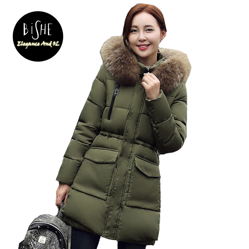BiSHE Parkas Mujer Invierno 2017 Fashion Slim Long Fur Collar Hooded Jacket Parka Female Outerwear Cotton Winter Coat Women fur collar winter jacket women parka cotton warm down parkas hooded coat woman clothes plus size abrigos mujer invierno 2017