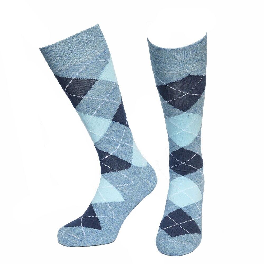Europe Style Happy Socks for Men Hit Color Grid Novelty Sock Skateboard Big Size Cotton sport Wedding Dress Socks Men