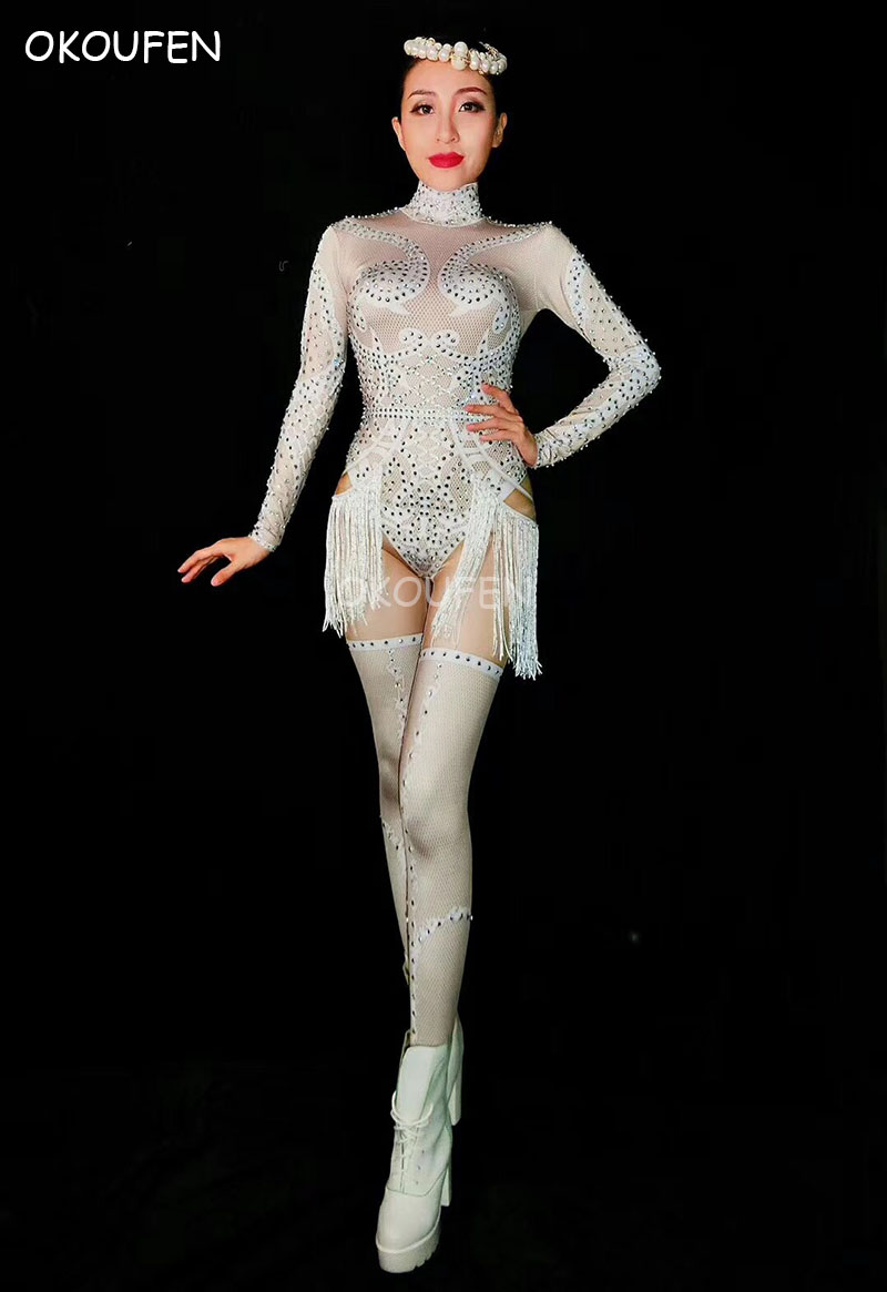 Blanc Sexy strass glands jupe courte Costumes femme chanteuse scène adulte costumes fête danse tenue