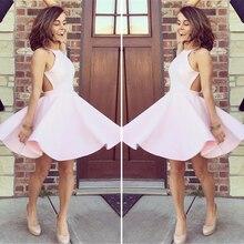 Schöne Rosa Prom Kleider Satin Prom Kleider Ballkleid Sleeveless Mini Petite Abendkleider