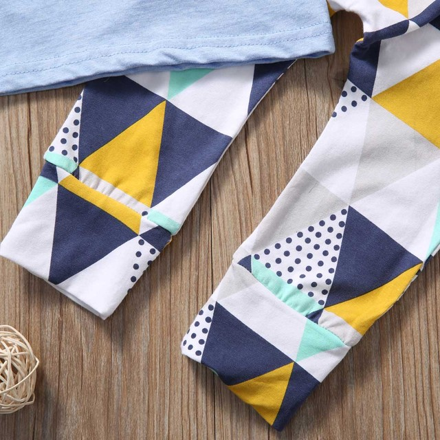 Summer 2017 Newborn Baby Boy Clothes Short Sleeve Cotton T-shirt Tops +Geometric Pant 2PCS Outfit Toddler Kids Clothing Set 3