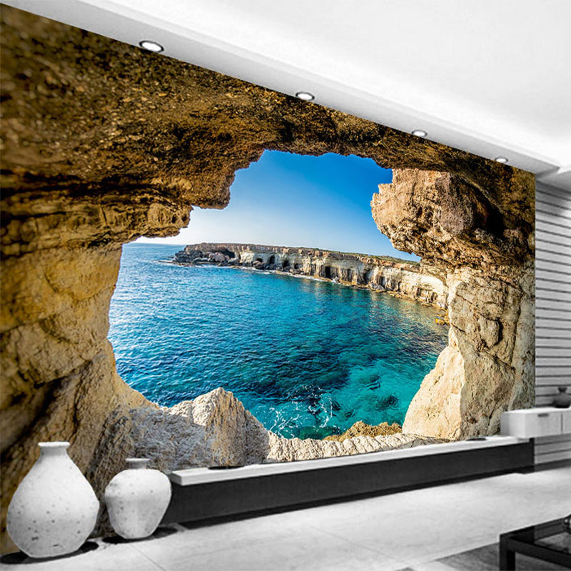 Photo Wallpaper Modern Simple Cave Seascape Nature Mural Living Room Bedroom Interior Decor Wallpaper Space Expansion Wallpapers custom photo wallpaper 3d stereoscopic cave seascape sunrise tv background modern mural wallpaper living room bedroom wall art
