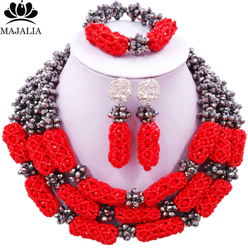 Majalia Fashion Women African Beads Necklaces Nigeria Wedding african beads jewelry red crystal Bridal Party Jewelry Set CX-011