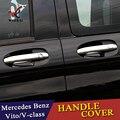 Хромированный автомобильный боковой протектор дверной ручки Накладка для Mercedes Benz Vito Metris Valente V-Class 2014-2018 W447 автомобильные аксессуары