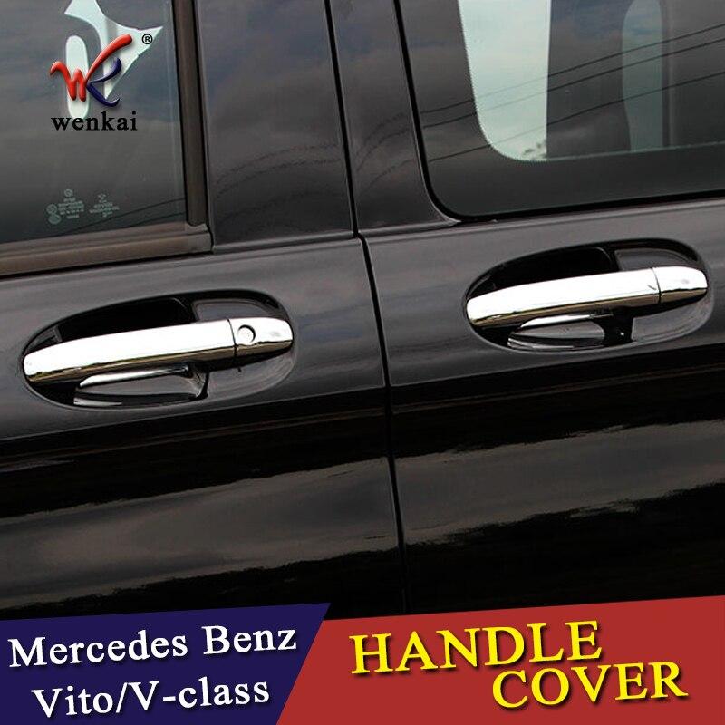Chrome Car Side Door Handle Protector Cover Trims For Mercedes Benz Vito Metris Valente V-Class 2014-2018 W447 Car Accessories rear bumper protector threshold plate cover sill trim for mercedes benz metris valente vito viano v class w447 2016 2017 2018