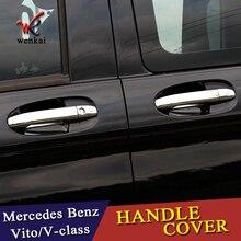 Chrome автомобиля боковой ручки двери защитная крышка планки для Mercedes Benz Vito метрис валенте V-Class 2014-2018 W447 автомобильные аксессуары