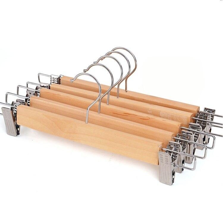 5 PC / parti Massivt trä multifunktionshängare Byxor Rack för byxor Folder Clip Pant Wood Hanger