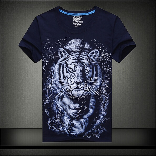 dd77aba7 Fashion 2015 summer 3D Tiger printed t-shirt navy/black t shirt compression tee  shirt mens shirts plus size M-4XL clothing GC513