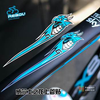 2 Pcs Bicycle Top Tube stickers for road bike mountain bicycle Tour de France Dragon of Welsh decals free shipping brompton stickers