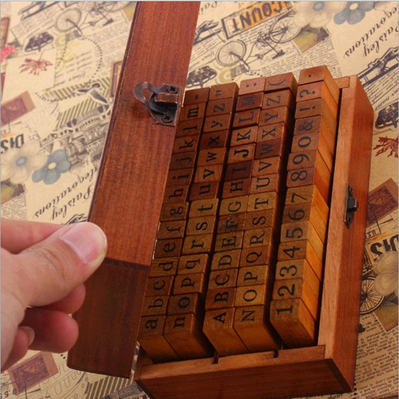 1 Set Bois En Caoutchouc Timbres avec Boîte En Bois 70 pcs Alphabet Lettre DIY Multi But Écriture Régulière Nombre Minuscules qualité S50 dans Timbres de Bureau et des Fournitures Scolaires
