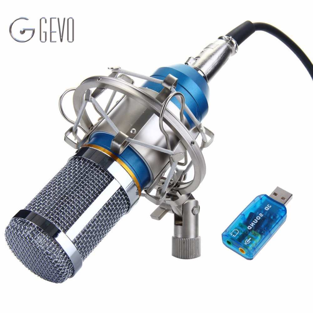BM-800 Condenser Microphone Professional 3.5mm With Metal Shock Mount Microphone For Video Recording Studio Computer BM 800 professional condenser microphone bm 800 bm 800 cardioid pro audio studio vocal recording mic 48v phantom power usb sound card