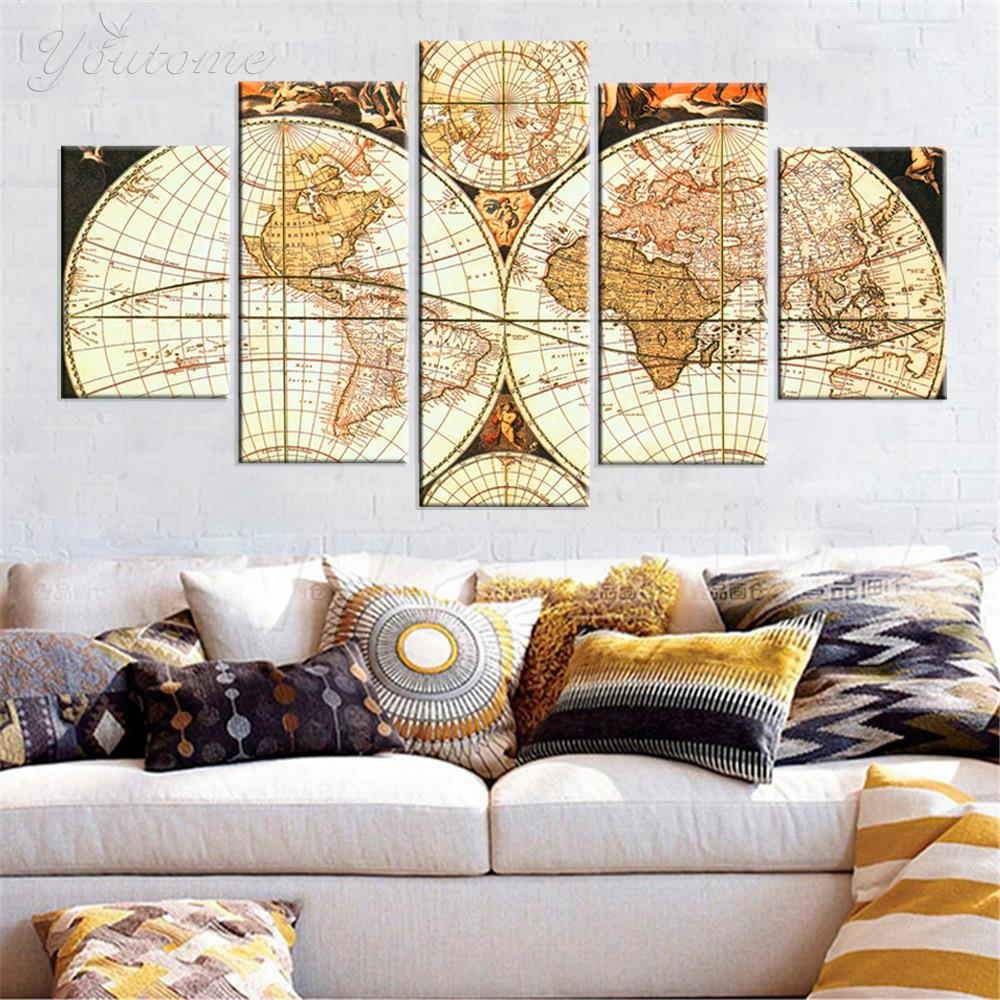 Aliexpress.com : Buy 5 Panel Canvas Art continents picture