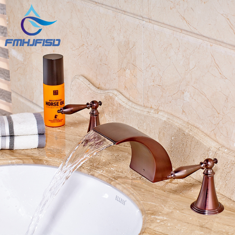 Bathroom Basin Faucet Oil Rubbed Bronze Deck Mounted Solid Brass Waterfall Tub Spout Taps Dual Handles oil rubbed bronze deck mounted waterfall hot and cold basin faucet dual handles