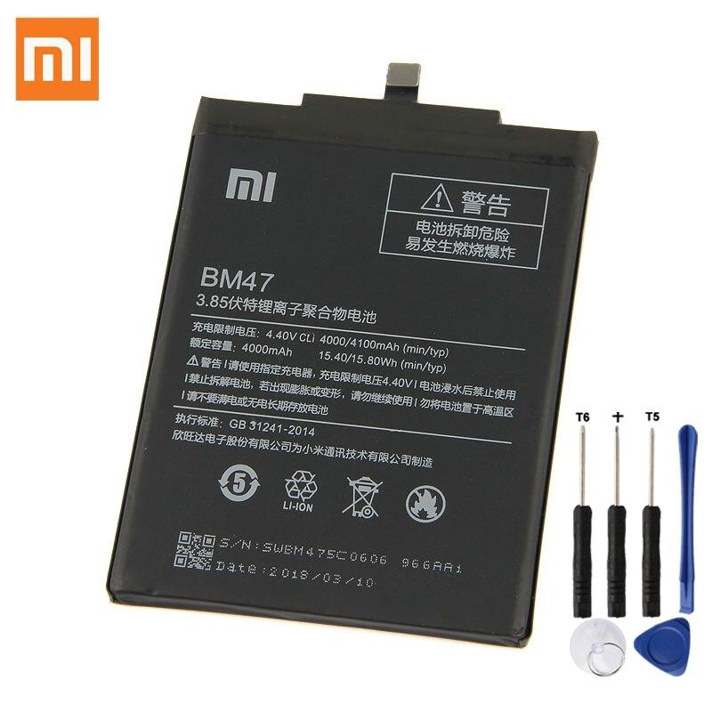 Batterie De Rechange d'origine Pour Xiaomi Redmi 3 3 S 3X Hongmi 4X Redmi3 Pro Redrice 3 BM47 Véritable Téléphone Batterie 4100 mAh