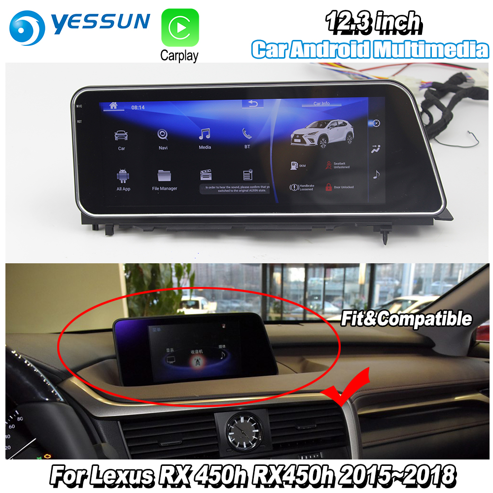 YESSUN 12.3 For Lexus RX 450h RX450h 2015~2018 Car Android Carplay GPS Navi maps Navigation Player Radio Stereo WiFi no DVD yessun for lexus al20 rx 300 rx 200t rx 450h 2015 2018 car android carplay gps navi maps navigation player radio stereo no dvd