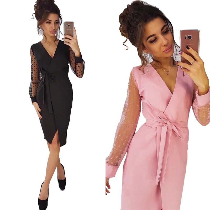 Women New Lace Long Sleeve High Waist Sashes V neck Blazers Party Dress Club Night Dresses Vestidos 3 Colors L0241