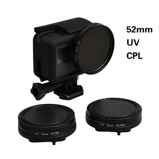 52mm UV CPL Filter for Go Pro Hero 5 Adapter Ring Glasses UV CPL Lens Protective Cap for Gopro Hero 5 Action Camera Accessories