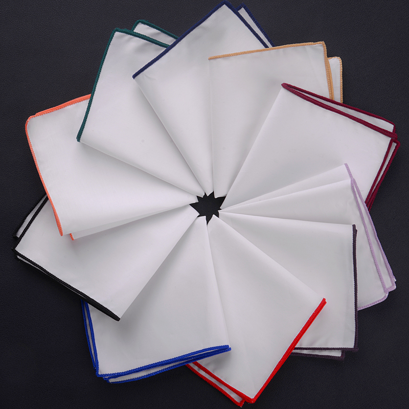 23x23cm 2019 New Popular 100% Cotton Men Solid White Pocket Square Men Casual Hankies For Men's Suit Big Size Handkerchief