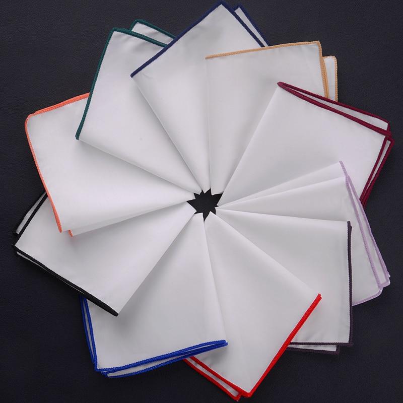 23x23cm Sale New Popular 100% Cotton Men Solid White Pocket Square Men Casual Hankies For Men's Suit Big Size Handkerchief