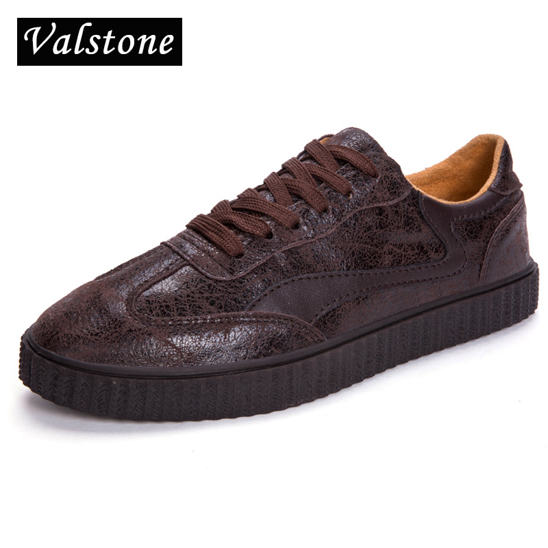 Valstone Genuine Leather Sneakers Men Casual shoes luxury real leather Men 2018 Autumn winter flats Rubber