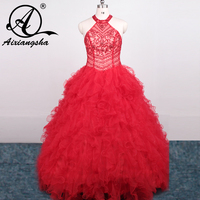 2018 Hot Red Ruffled Tulle Crystals Beading Top Sexy Open Back Quinceanera Dresses Ball Gown For The Sweet 15 Years
