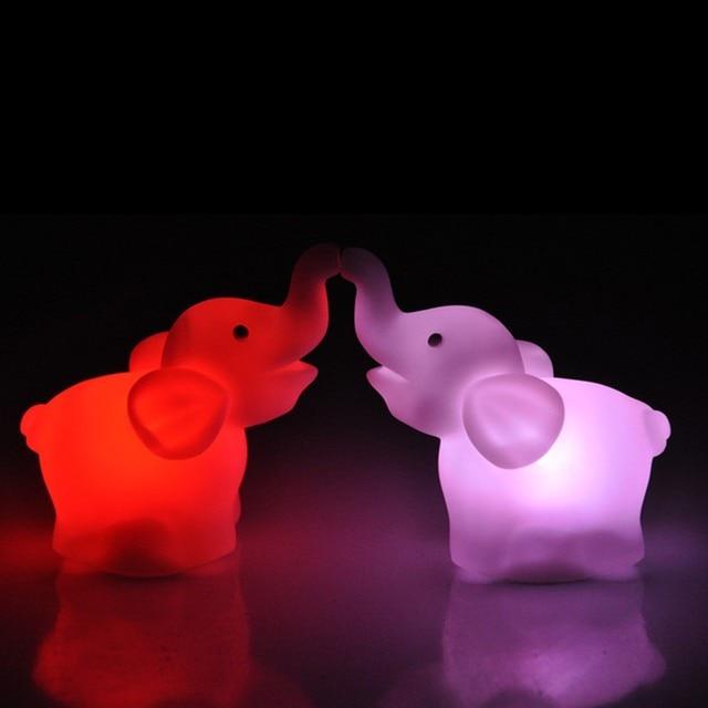 New Cute Elephant Shape Color Changing LED Night Light Lamp Wedding Party Decor New Fashion