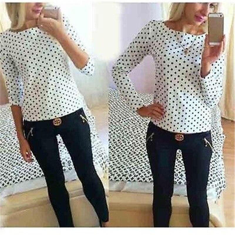 New Arrival Stylish Womens Vintage Polka Dots Long Sleeve Round Neck Shirts Chiffon Casual Tops Shirt Blouse Brief Custume Wear