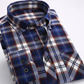 Fall 2016 men's casual Plaid long-sleeved shirt Slim Fit Comfort soft brush flannel shirt Cotton Leisure Style Man's Clothing